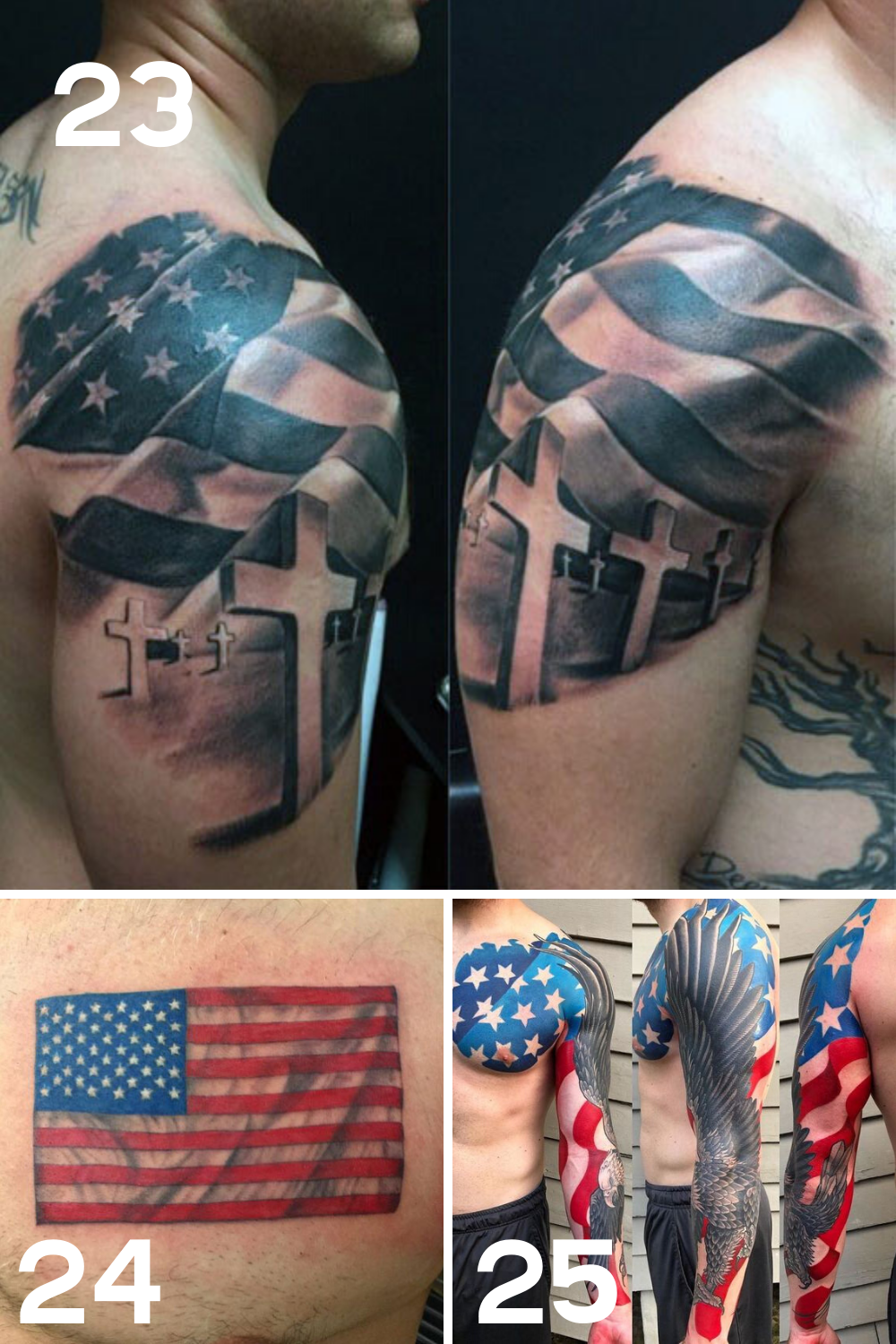 red white and blue tattoos