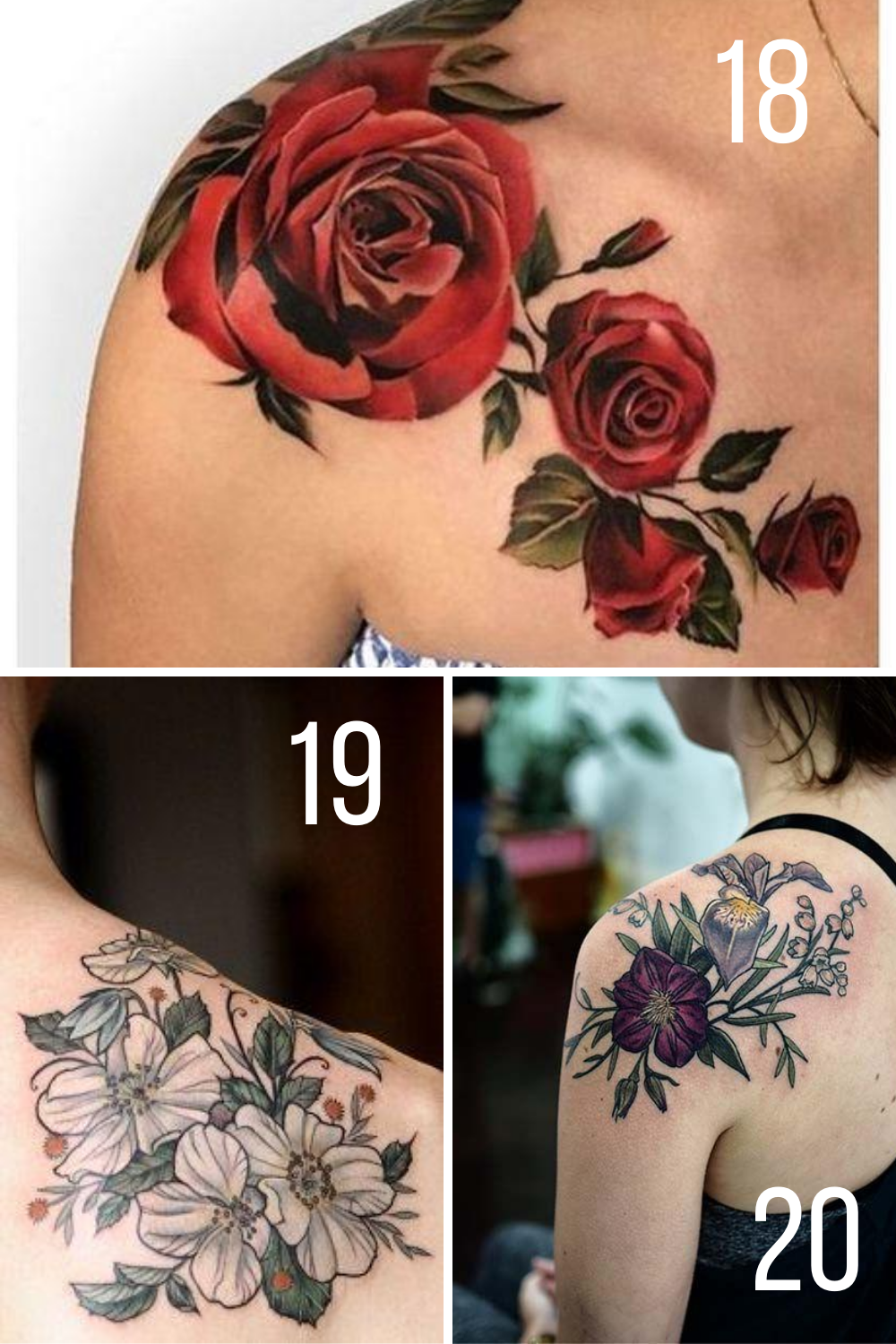 Fastest Flower Tattoos On Shoulder And Collarbone