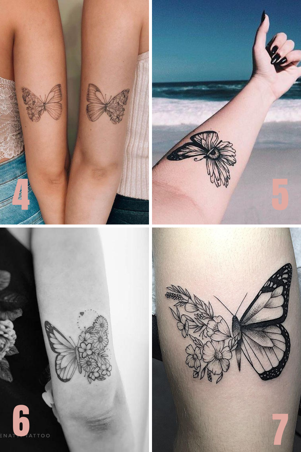 Half Butterfly Half Flower Tattoo