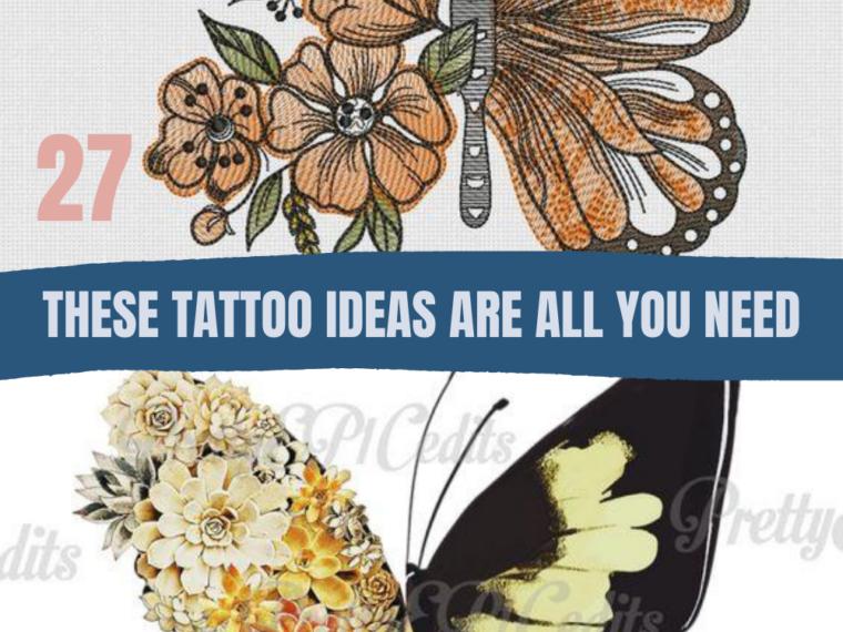 Half Butterfly Half Flower Tattoo