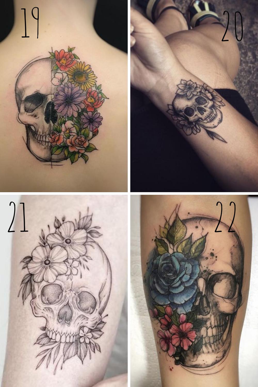 skull and flower tattoo design