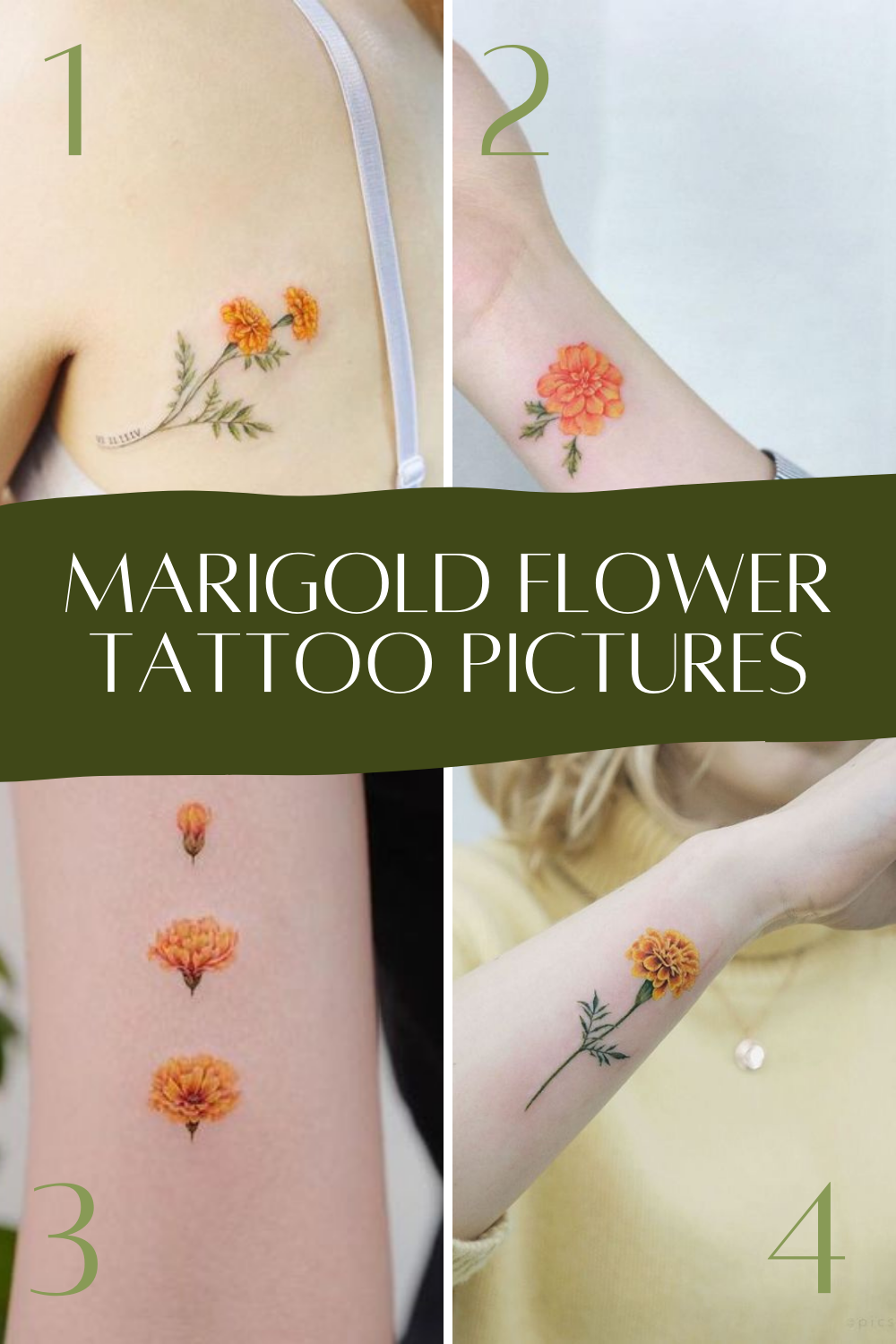 Marigold Flower Tattoos Ideas & Inspiration