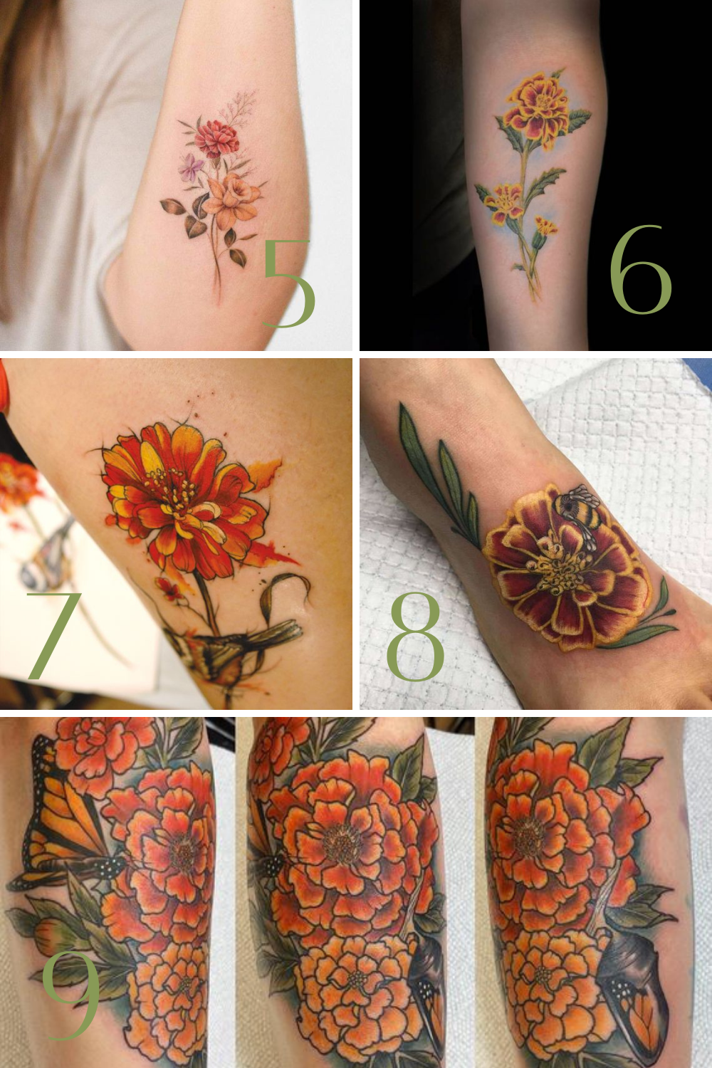 Orange Flowers Tattoos Ideas