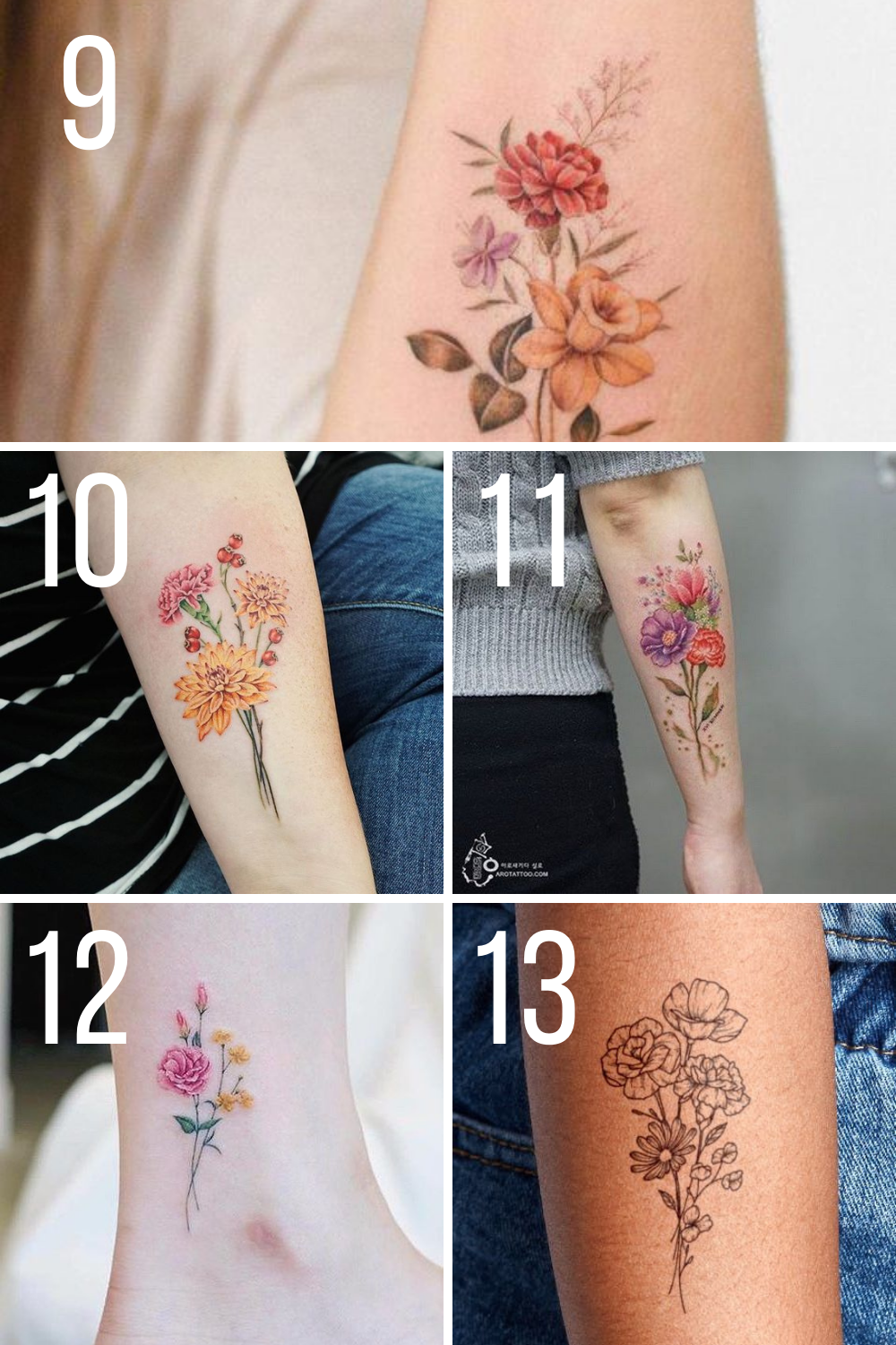 Carnation Bunches Tattoo Ideas