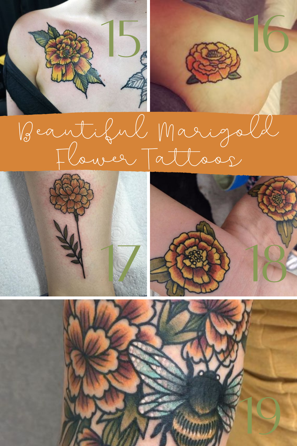 Beautiful Marigold Flower Tattoos