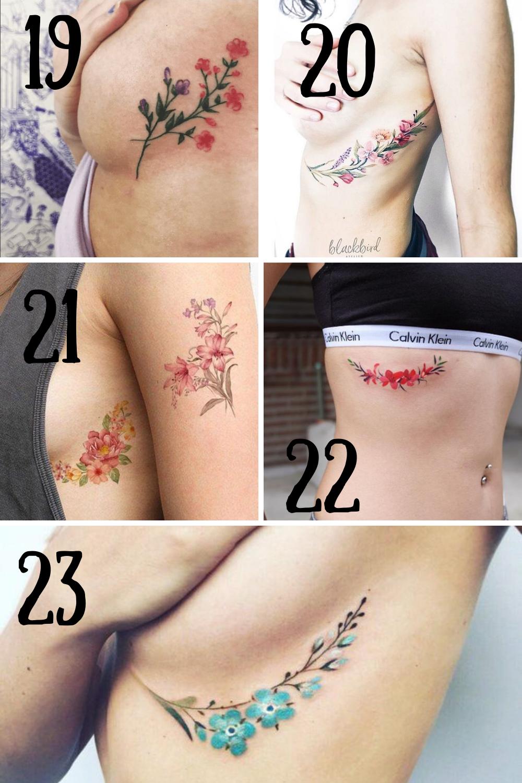 Side Boob Flower Tattoos
