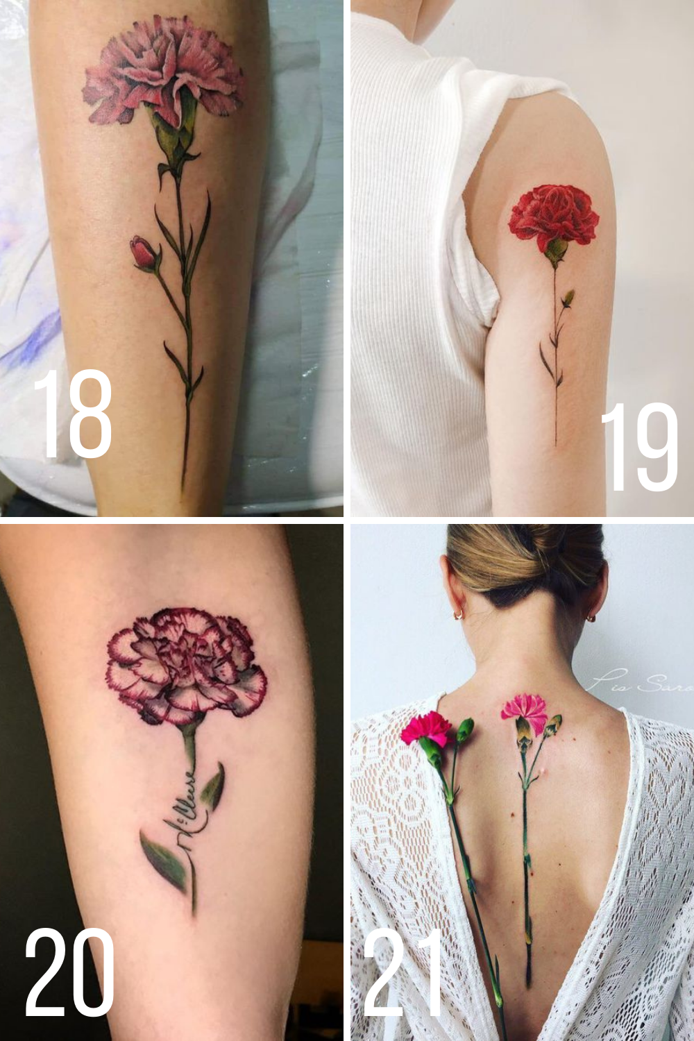 Colorful Long Stem Flower Tattoos For Backs and Arms