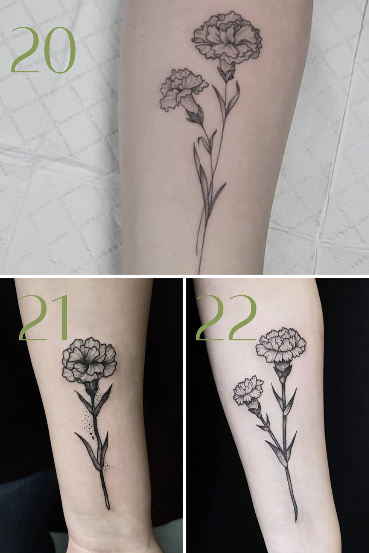 Black and White Marigold Flower Tattoo Designs
