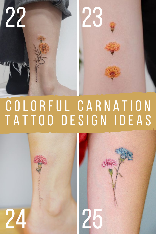 Colorful Carnation Tattoos