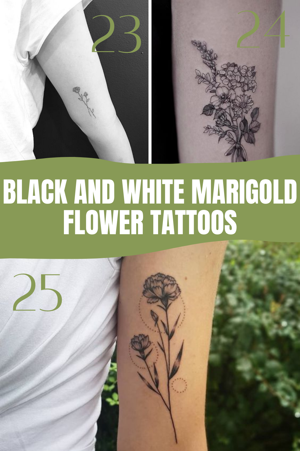 Black and white Marigold Flower Tattoos