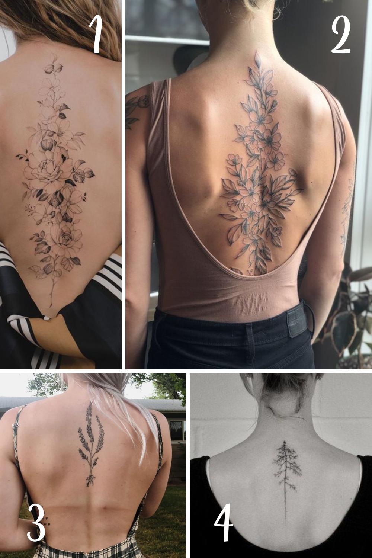 Flower Spine Tattoos for Women