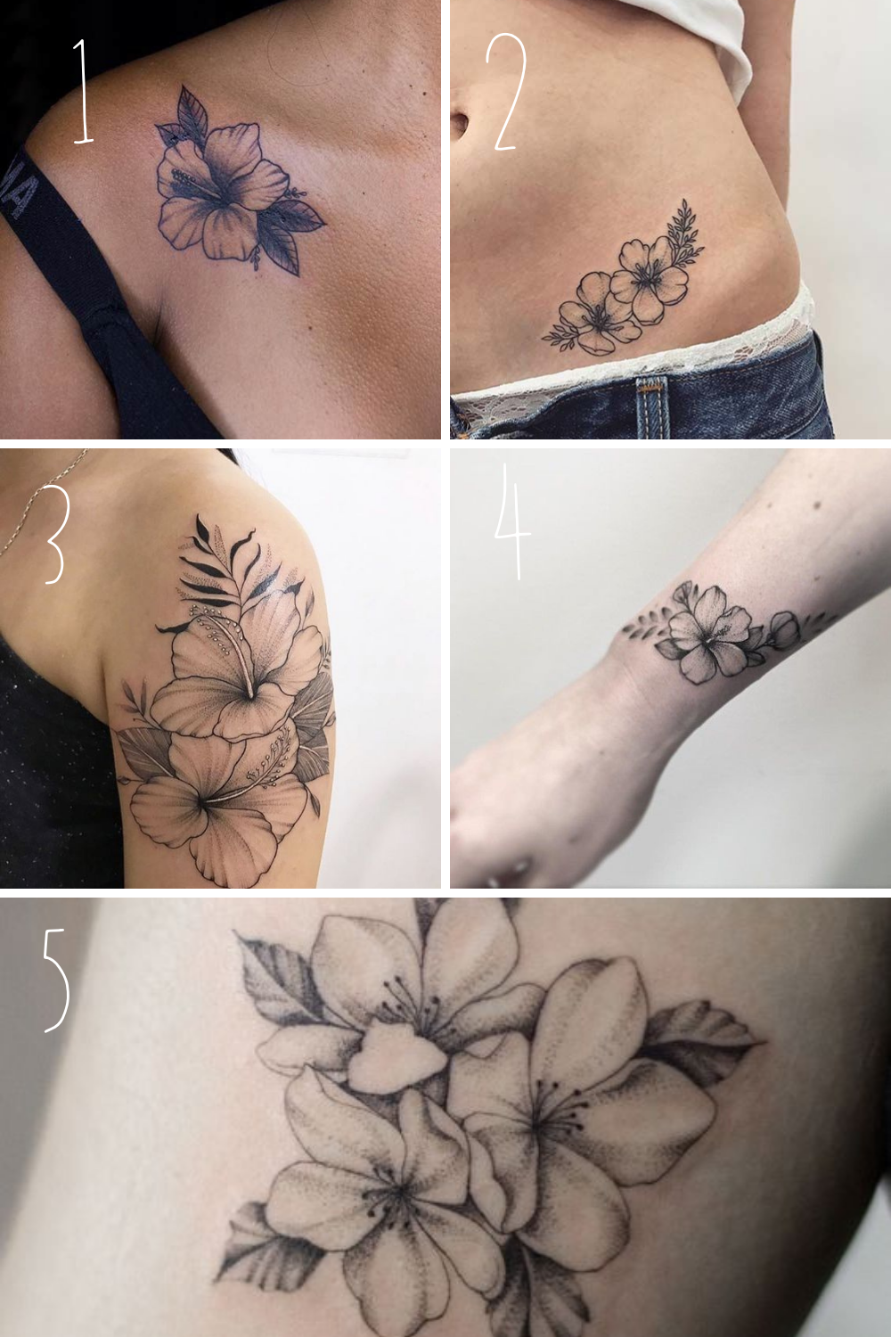 Black and White Hibiscus Flower Tattoo Ideas