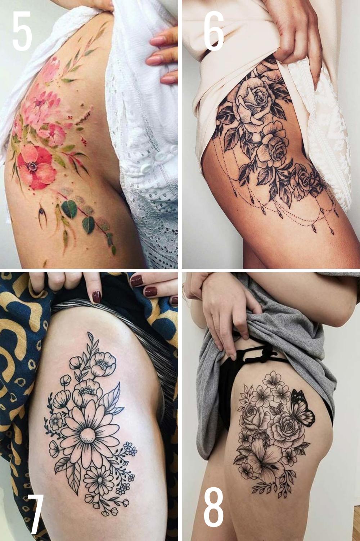 Flower hip tattoos designs