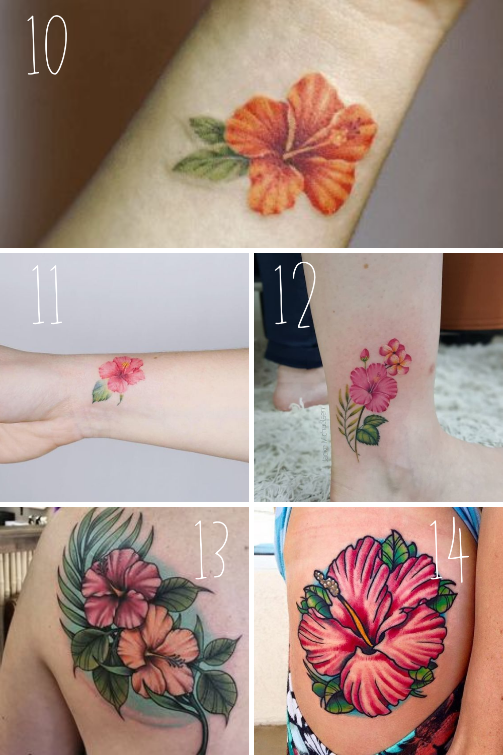 Colorful Flowers Tattoos With Hibiscus