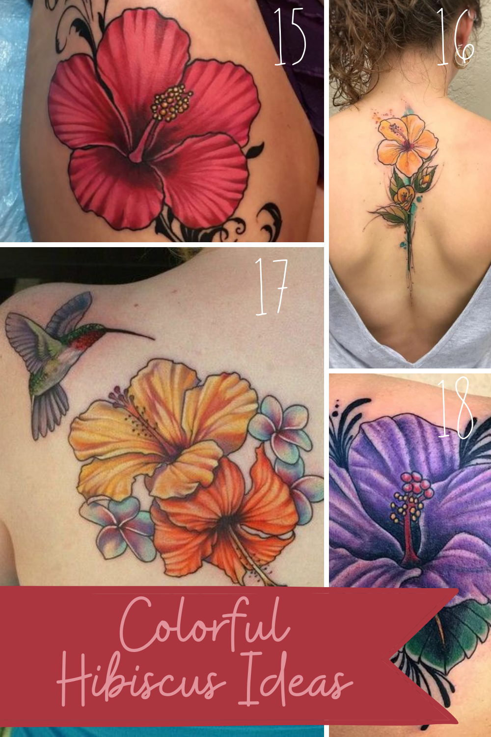 Hibiscus Tattoos For Women With Color