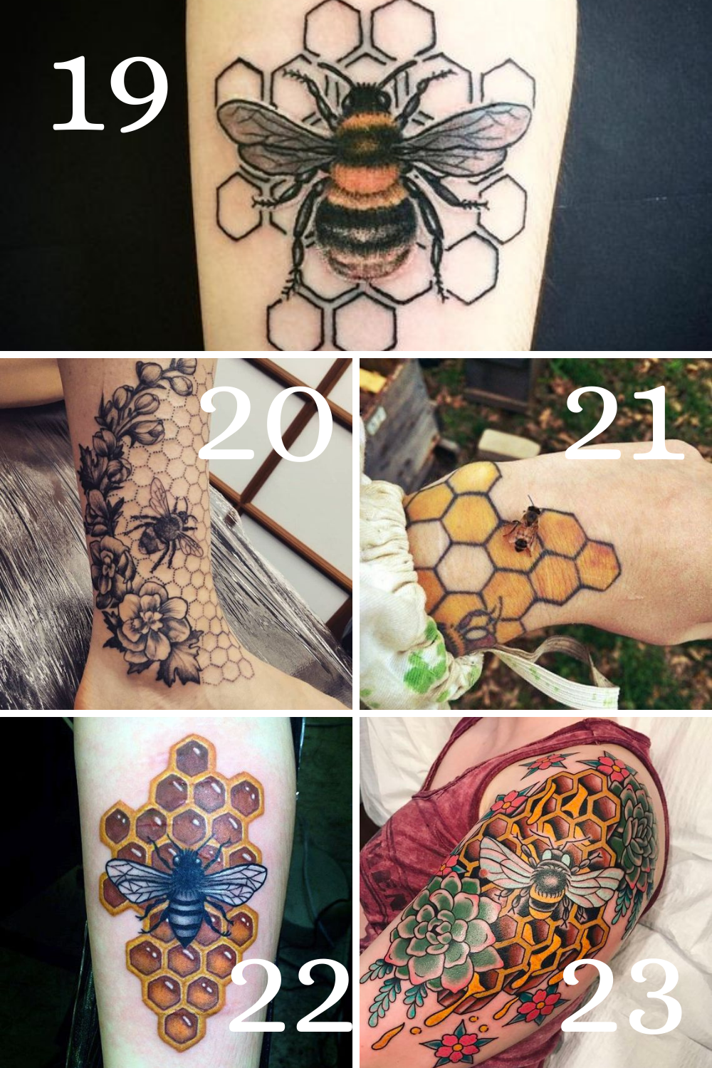 Bumble Bee And Honeycomb Tattoos