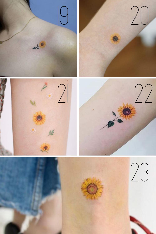 Sunflower Tattoo Photos Of Small Sunflowers
