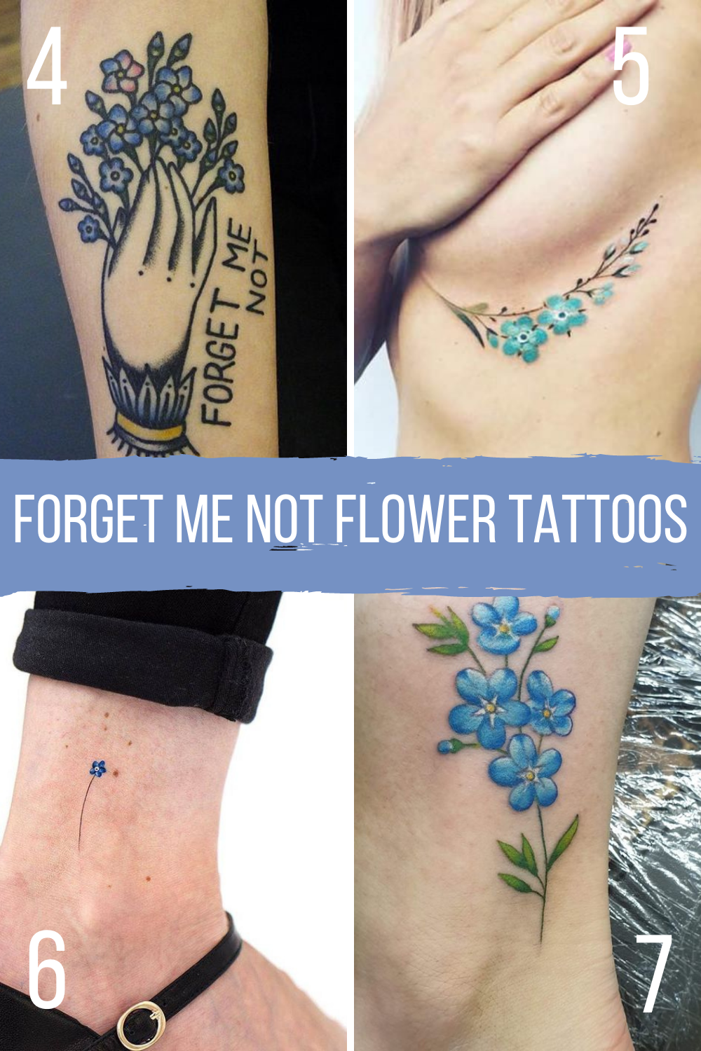 Forget Me Not Flower Tattoos For Long Lost Love