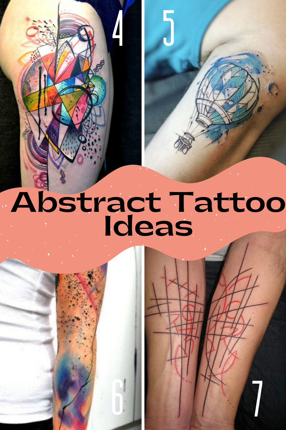 Abstract Art Tattoos With Color