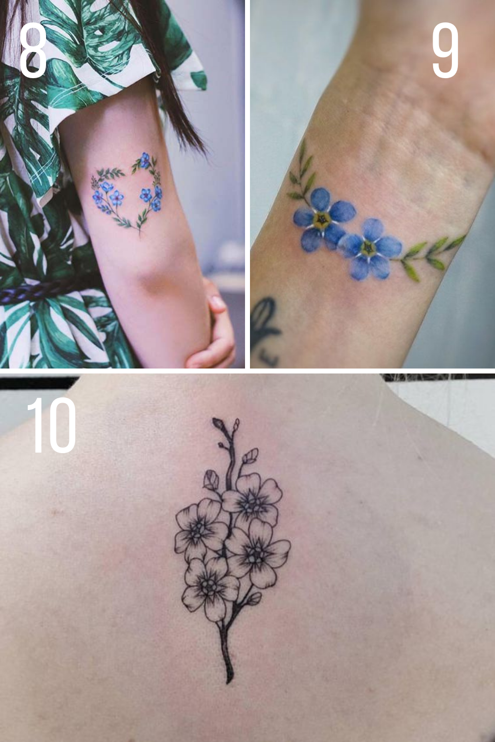 Blue And Black Flower Tattoos Forget me Not