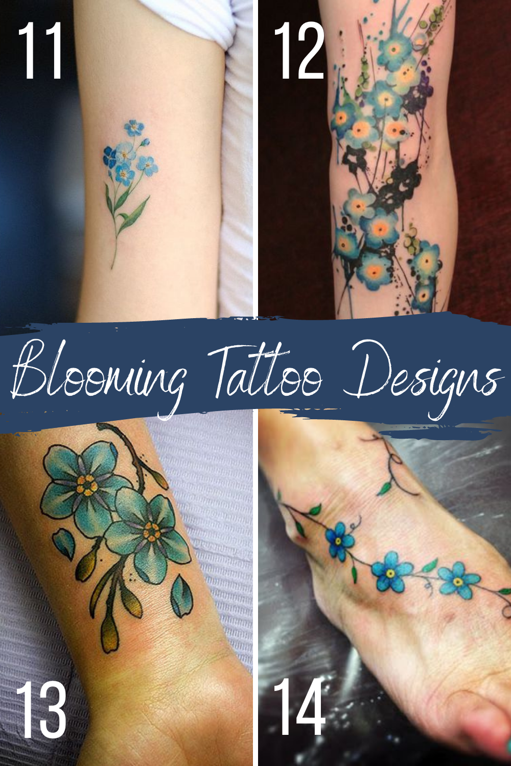 Blooming Blue Tattoo Designs Flowers for Sleeves