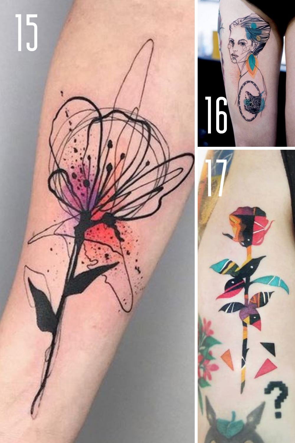 Abstract Floral Tattoo Designs