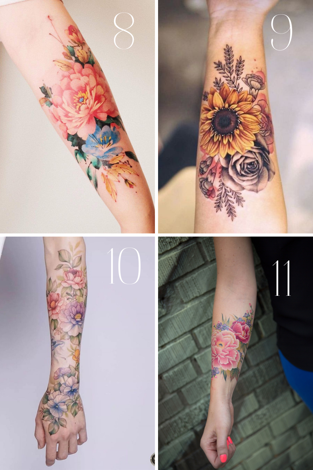 Colorful Floral Tattoo Designs For Forearms