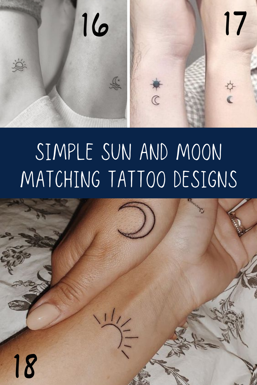 Simple Sun + Moon Tattoos