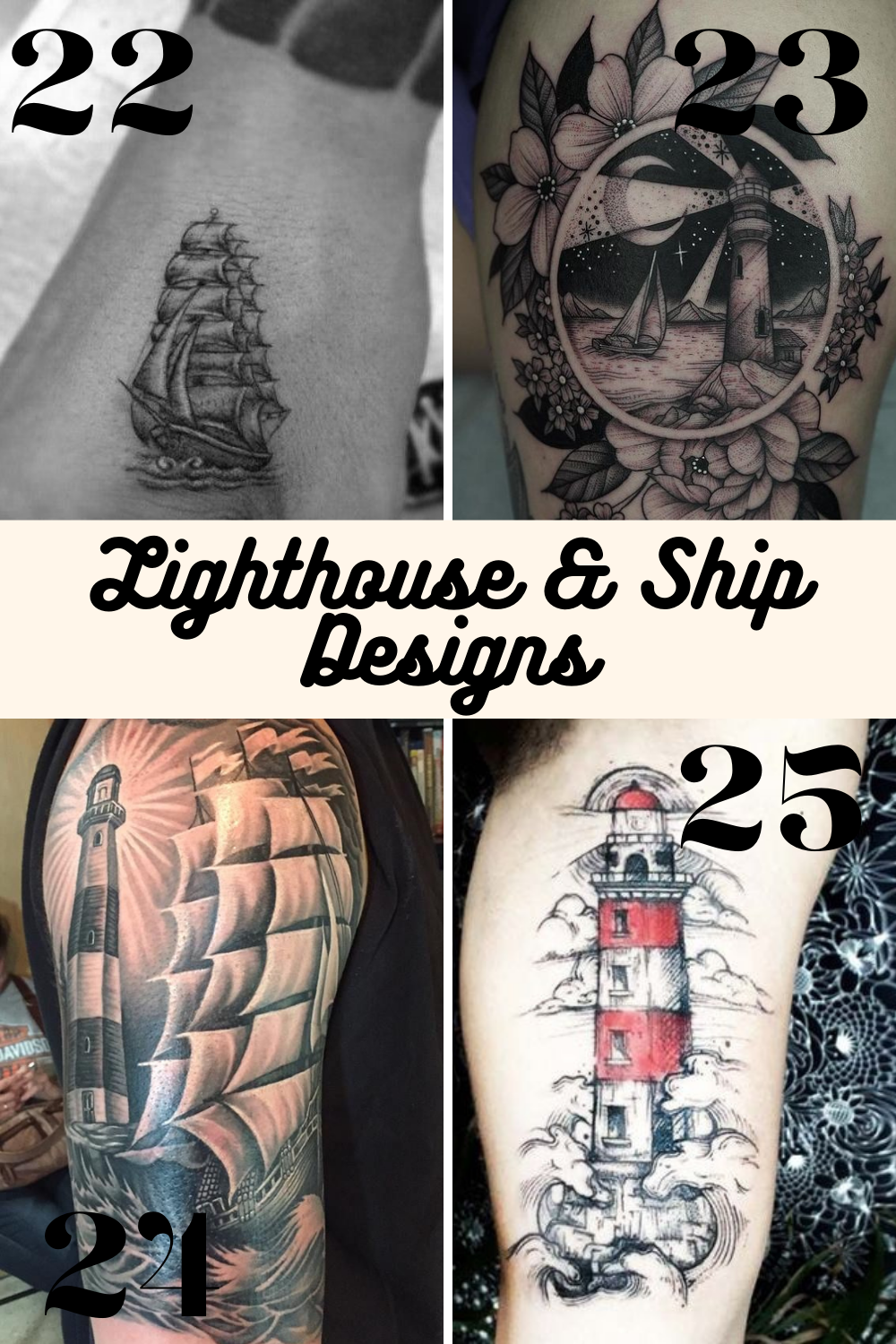 Ship and Lighthouse Tattoos