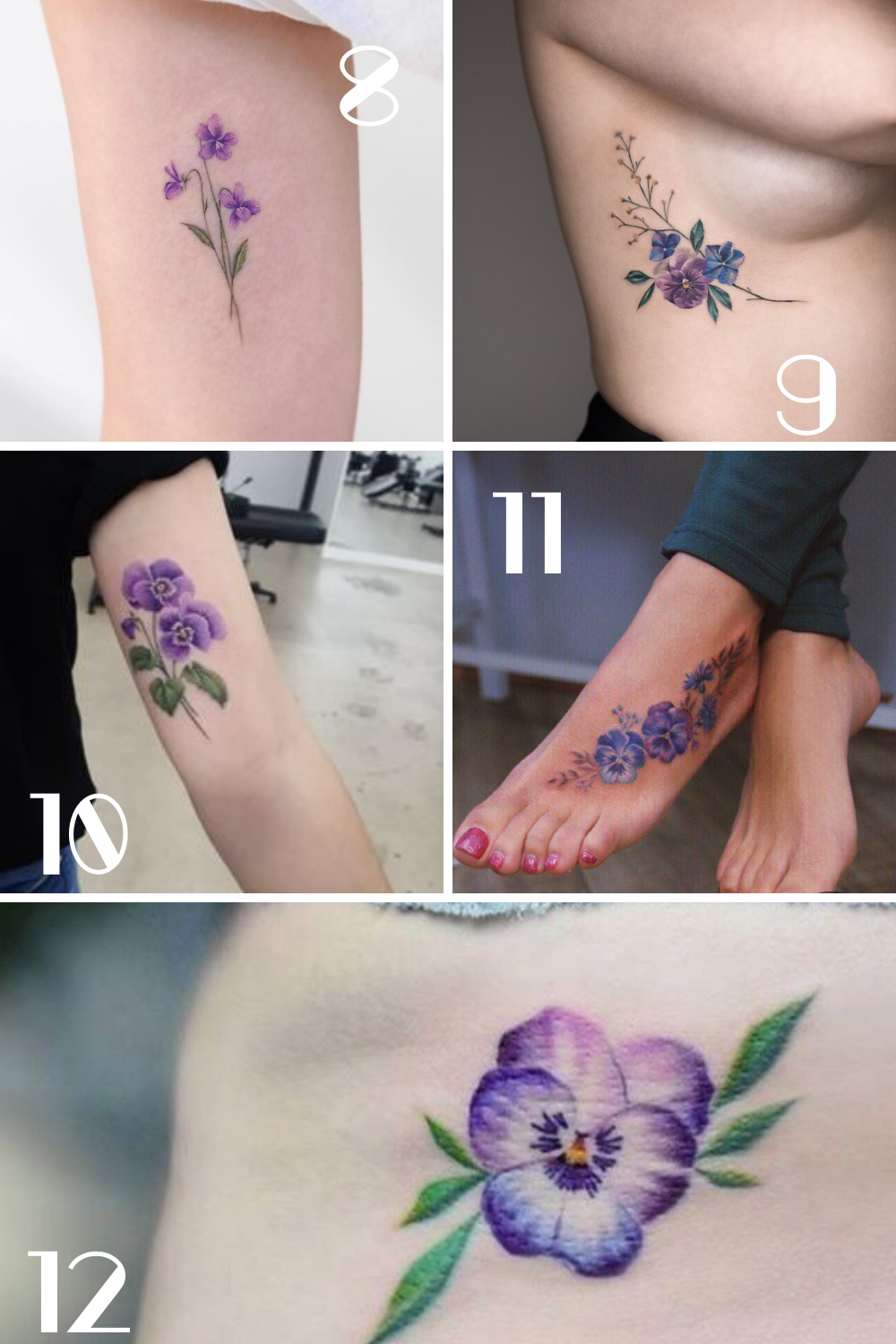 Violet Flowers Tattoo For Women