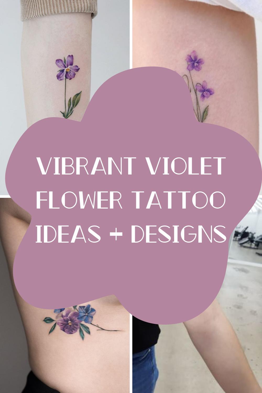 Vibrant Violet Flower Tattoo Ideas