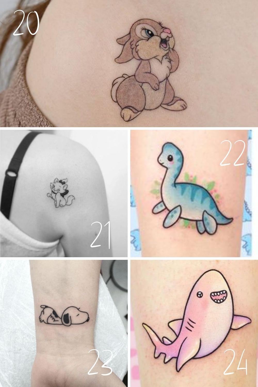 Cute Cartoon Animal Tattoos