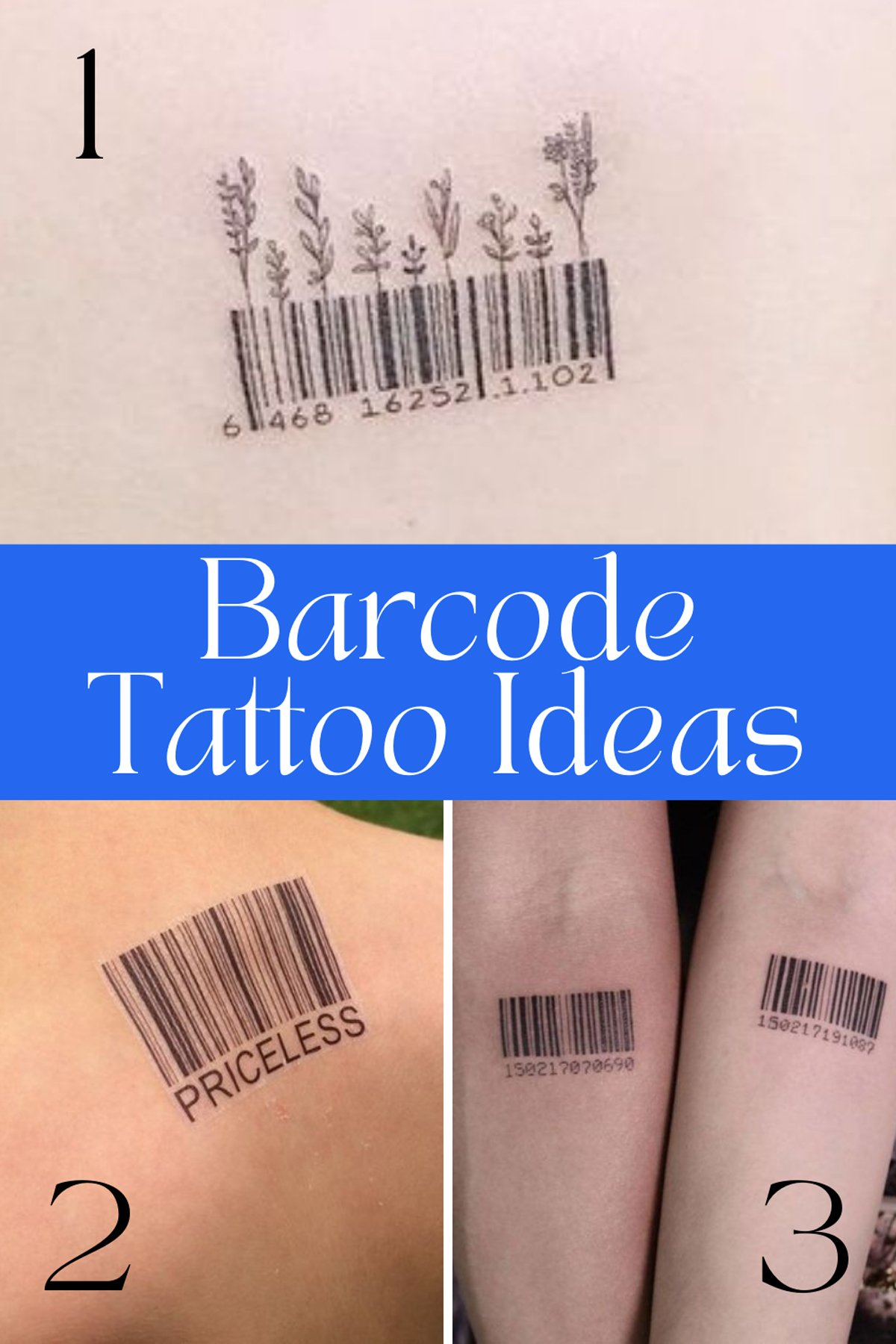 Black and white Barcode Tattoos