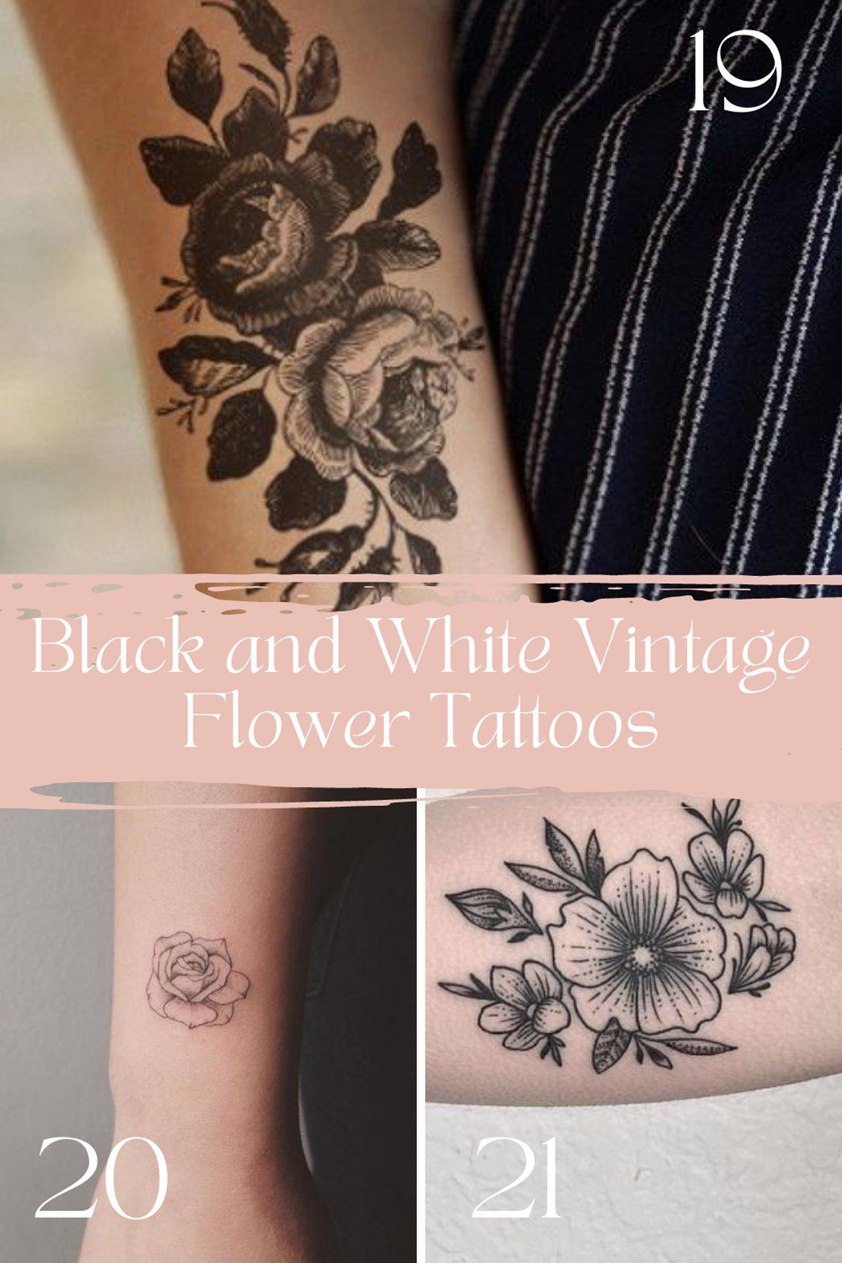 Black and White flowers vintage Tattoos