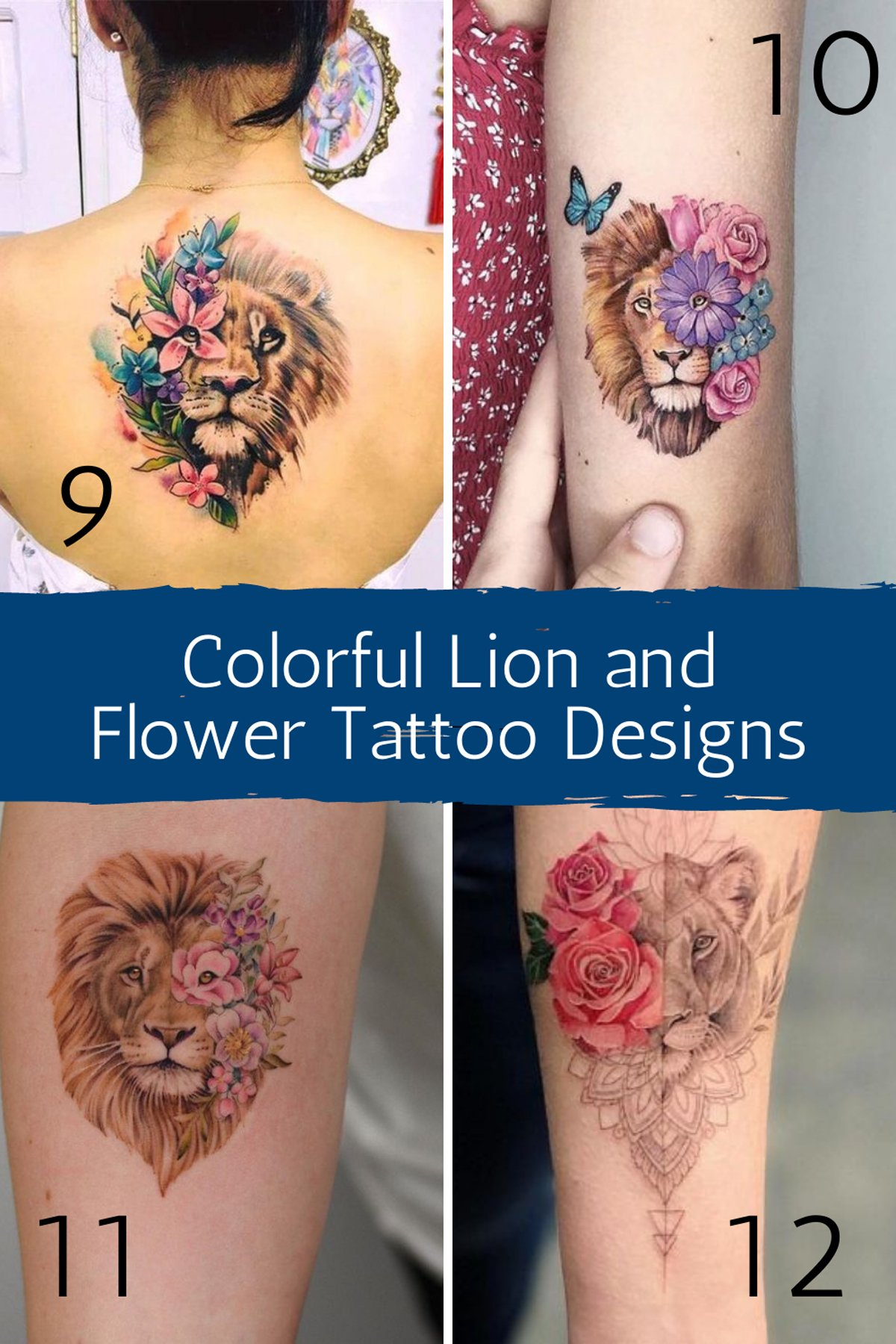 Colorful Lion and Flower Tattoo Designs