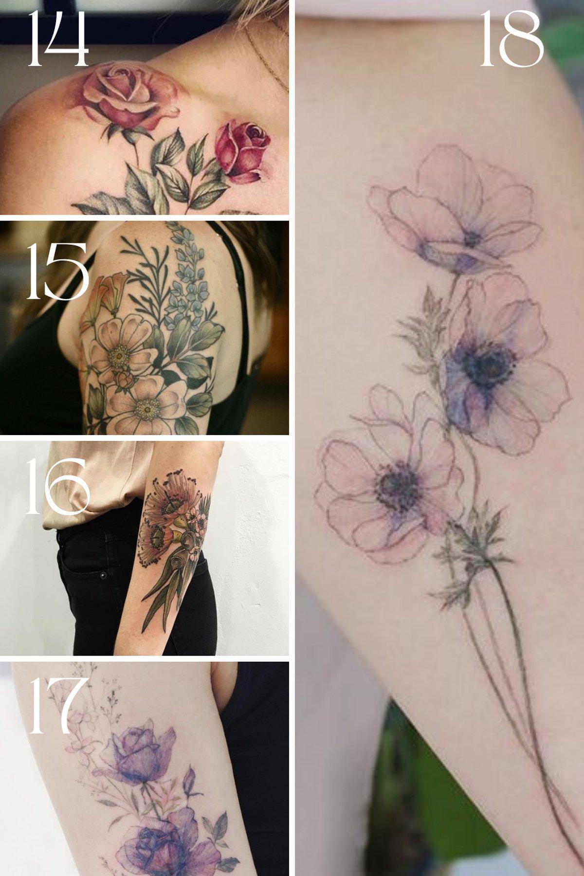watercolor flower tattoo inspiration