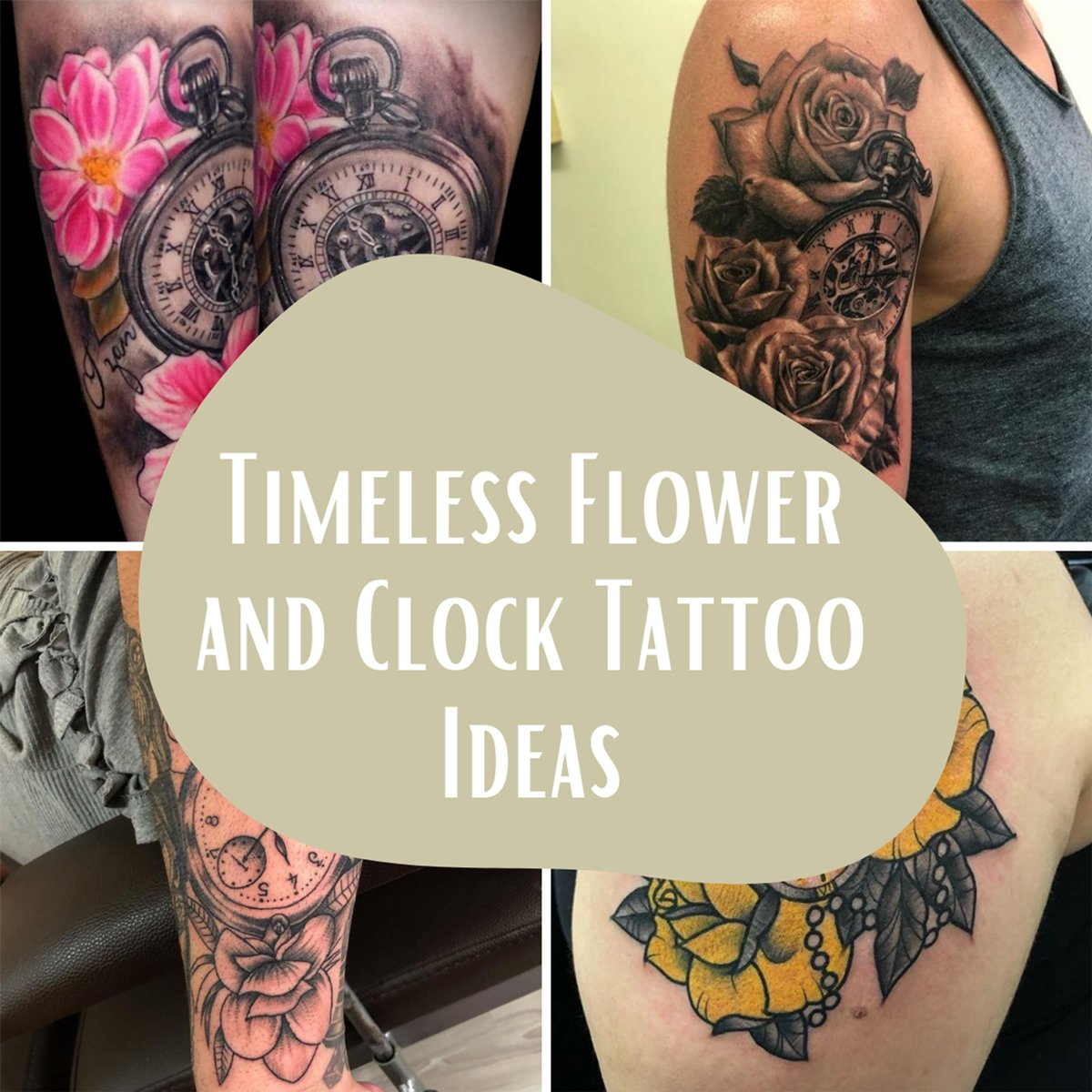 Flower and Clock Tattoos