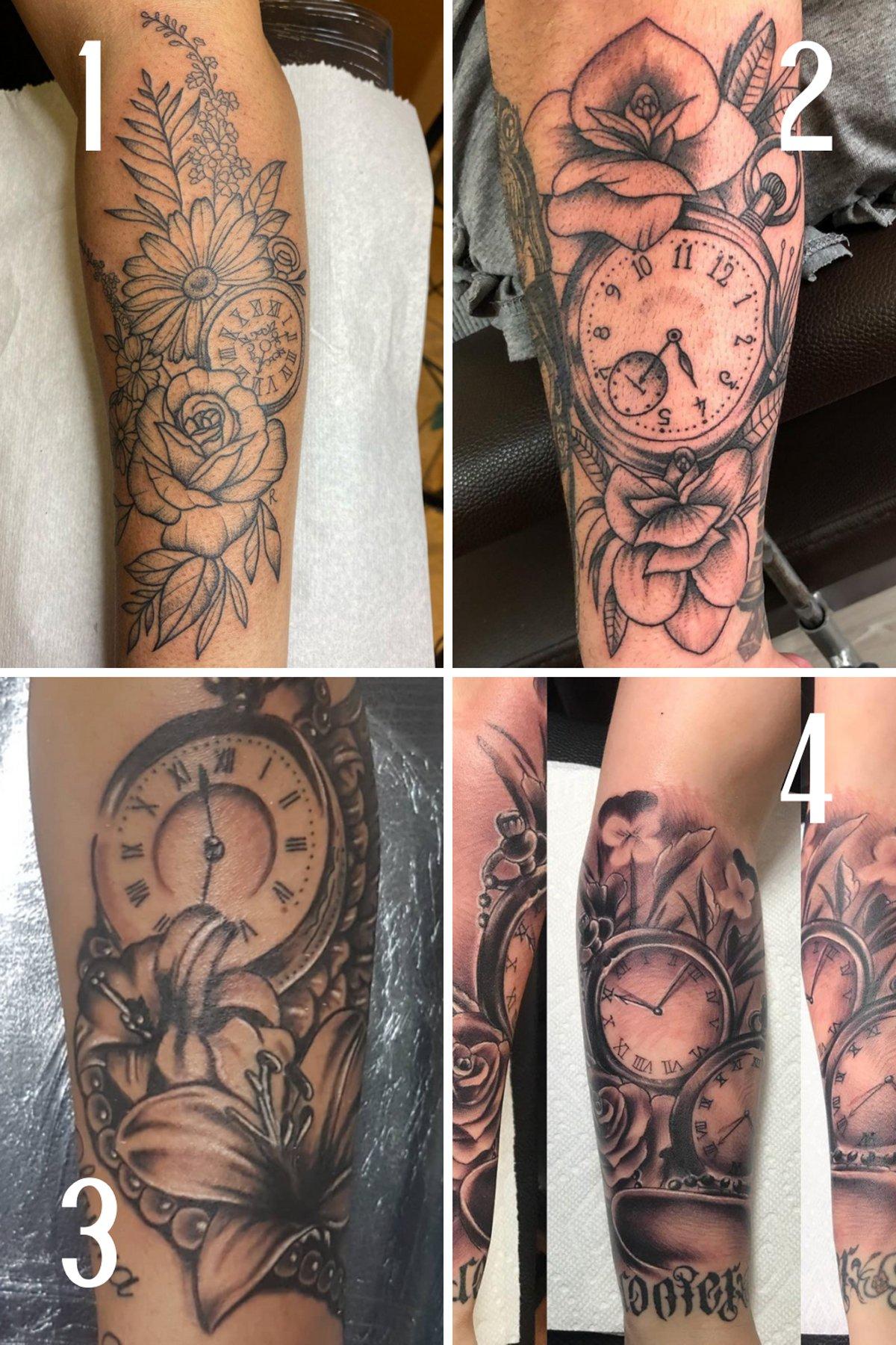 Flower and Clock Tattoo Sleeve