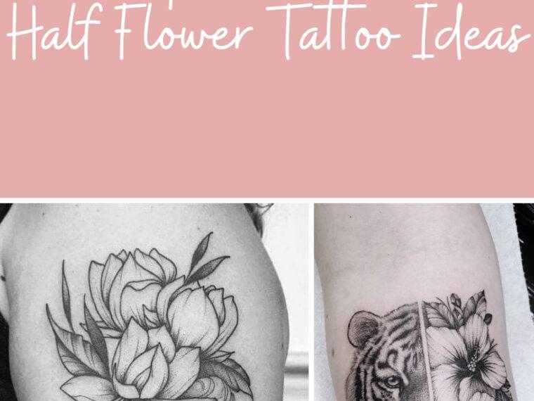 Half Face Half Flower Design