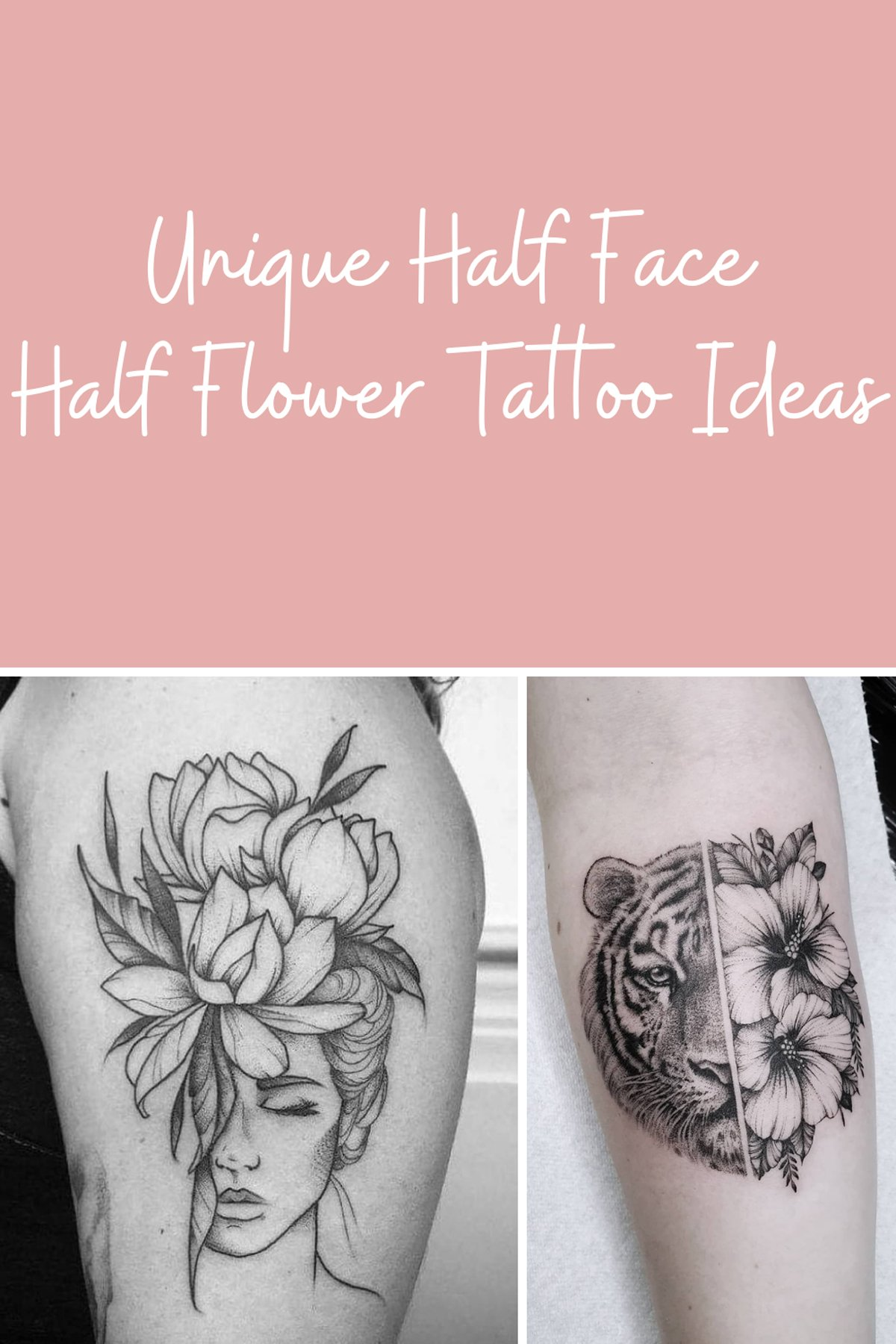 Half Face Half Flower Tattoo Design
