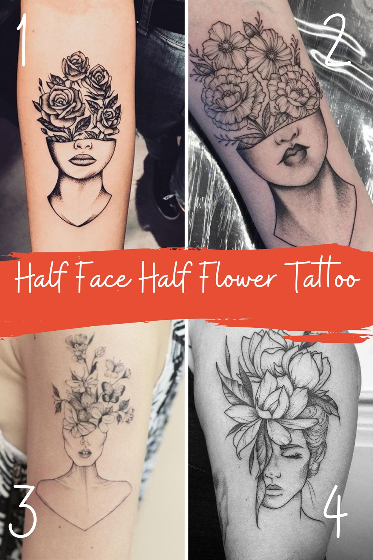 Flowers coming out of a face tattoo ideas