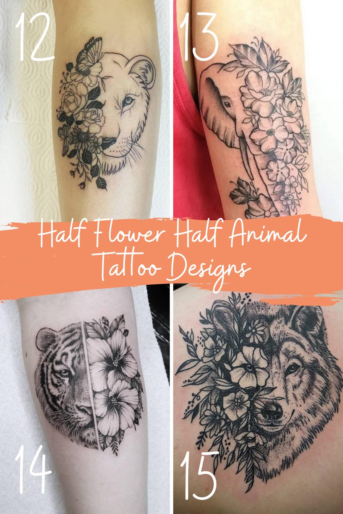 Animal Flower Tattoos