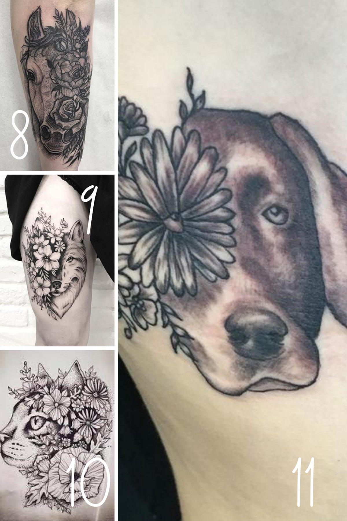 Dog face tattoo half face flower