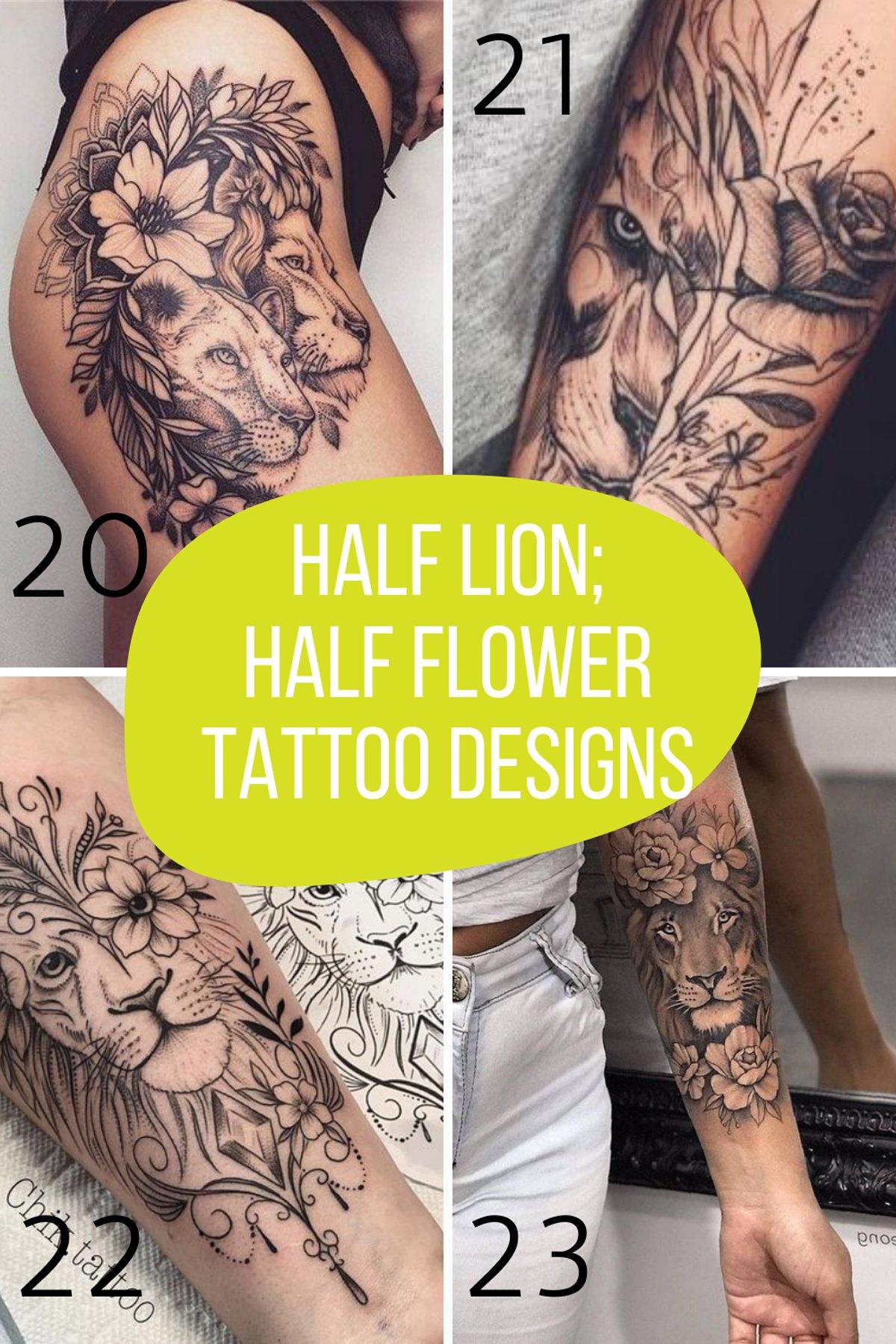 Girl with half lion tattoo ideas