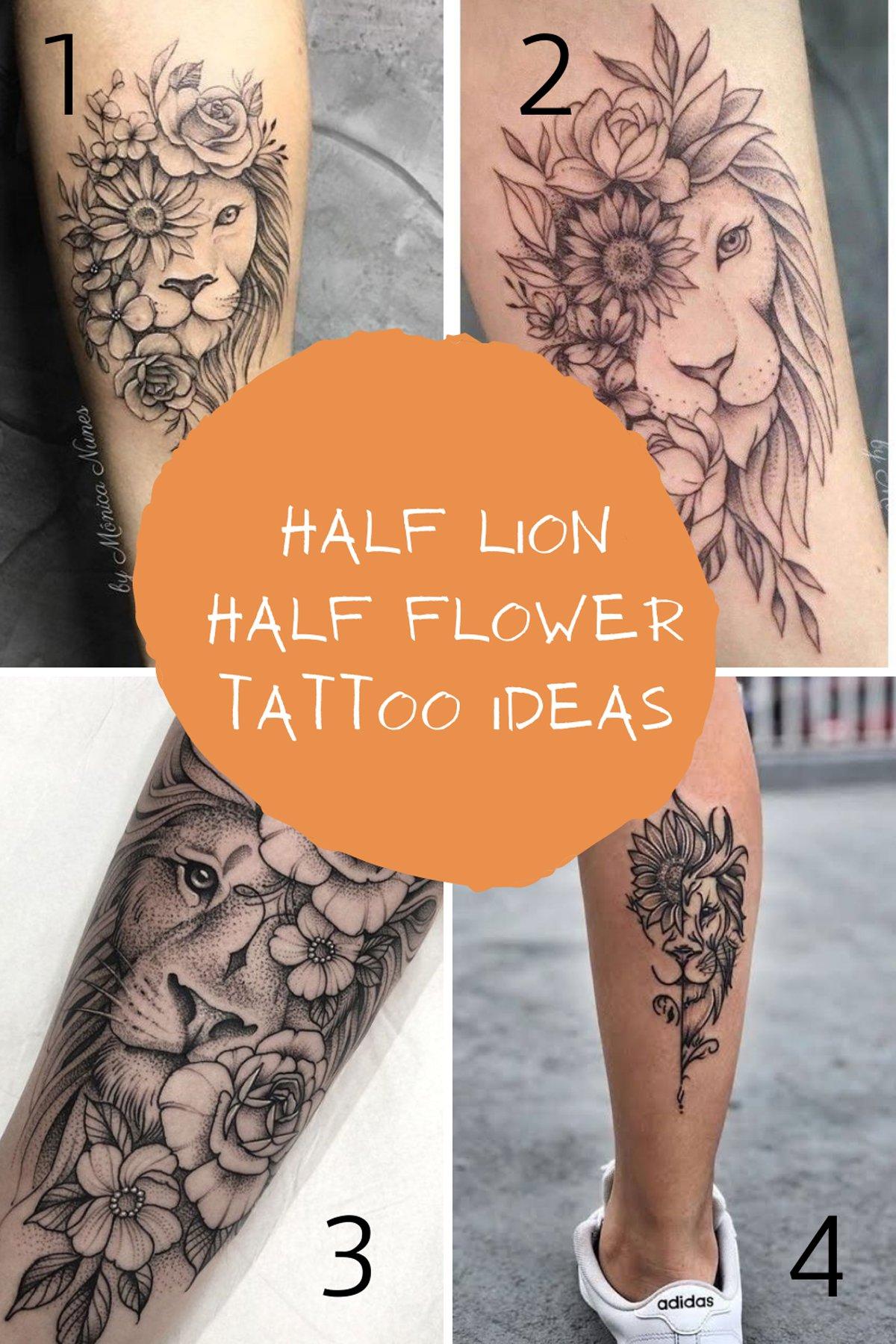 Half Flower Tattoos With Lion