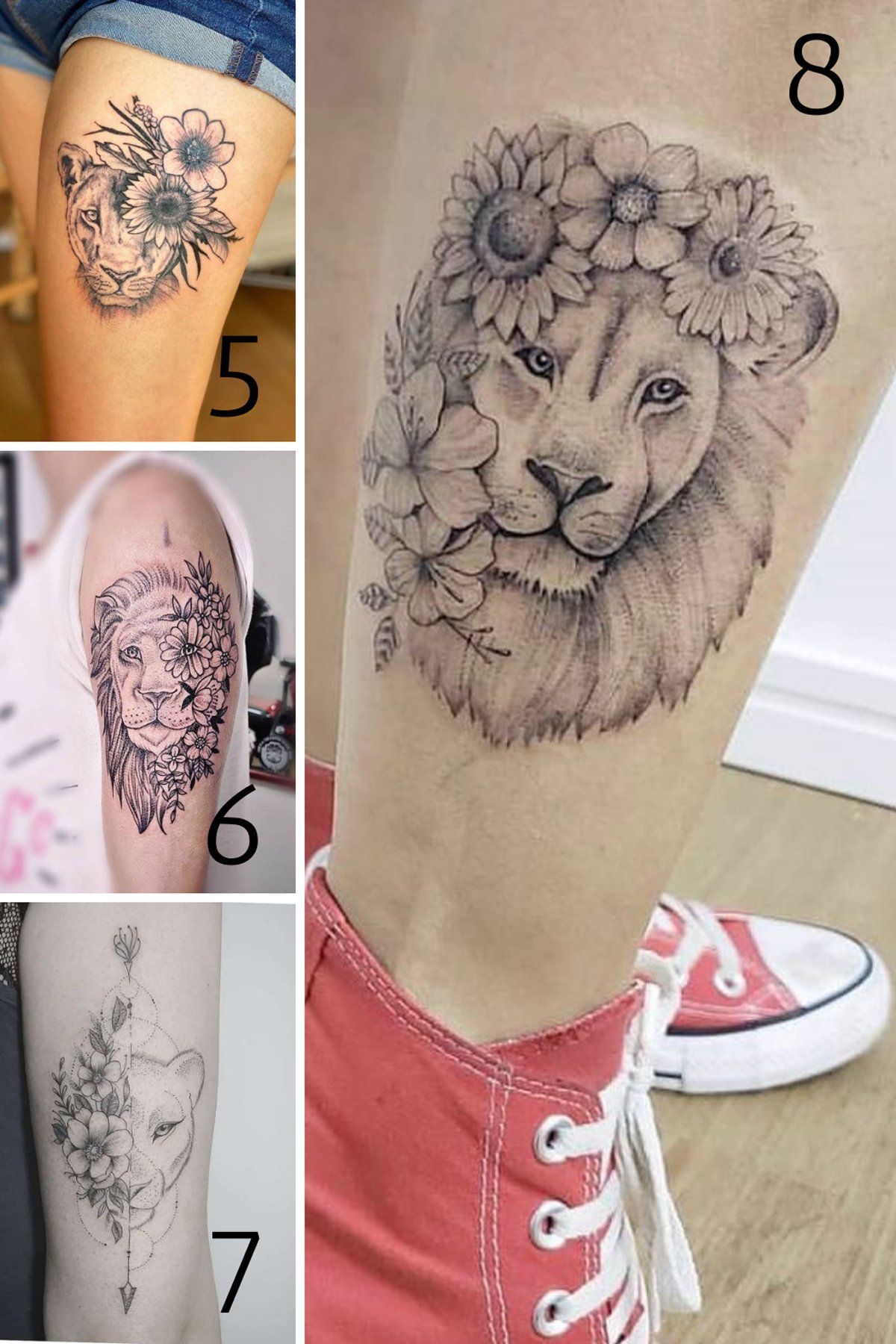 Lion Tattoos With Flowers
