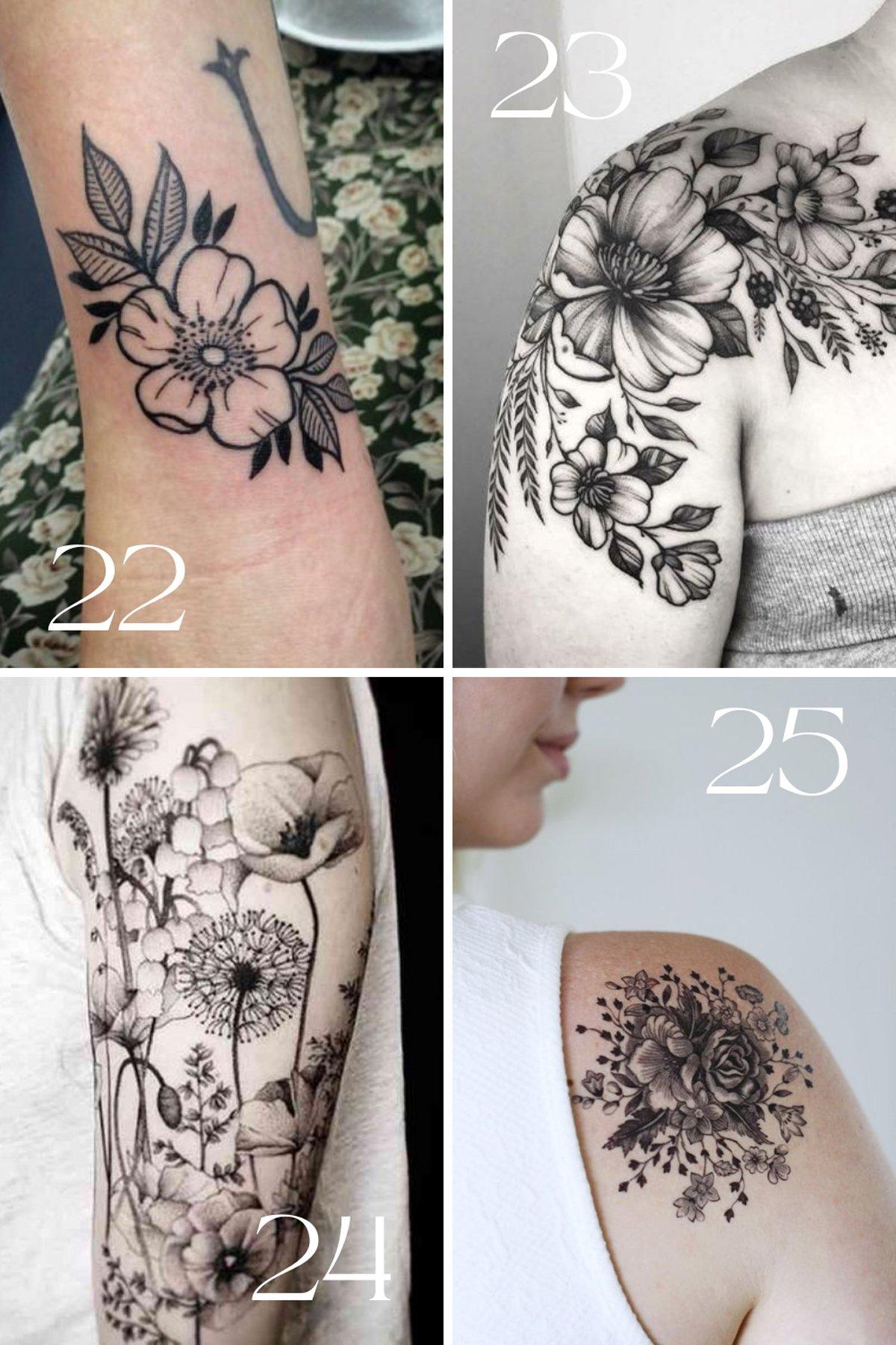 Vintage Flower Tattoos in Black Ink