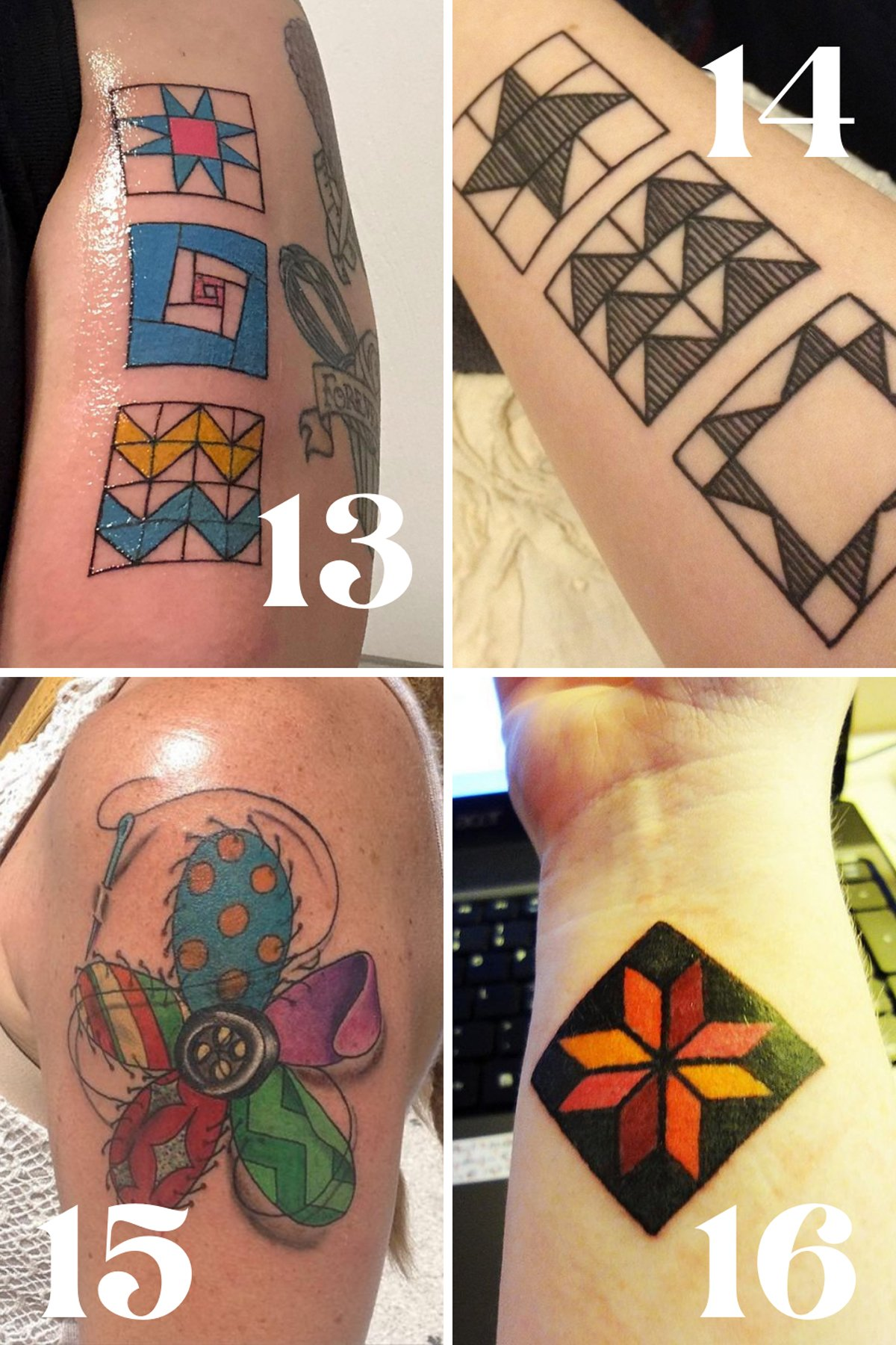 Patchwork Colorful Quilt Tattoos
