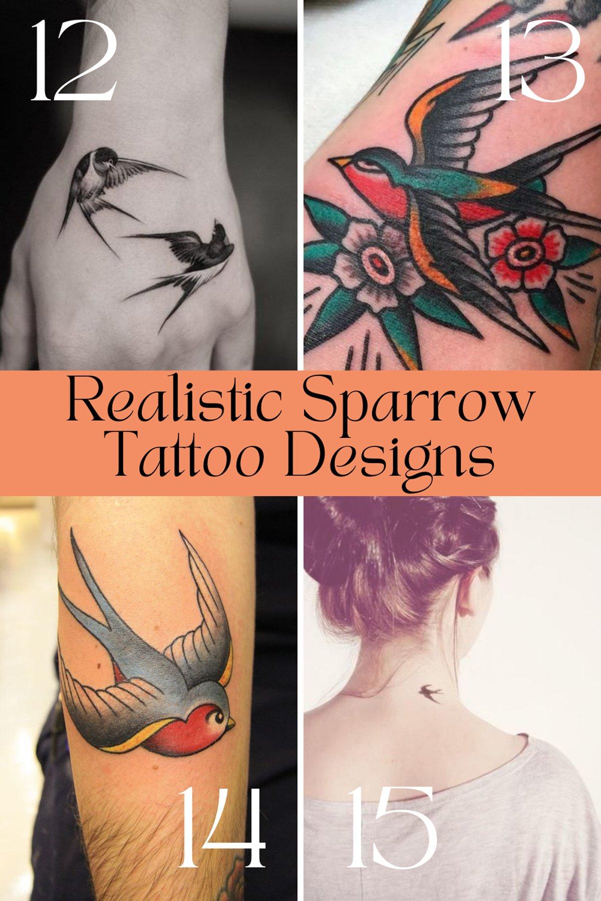 Realistic Sparrow Tattoo Designs