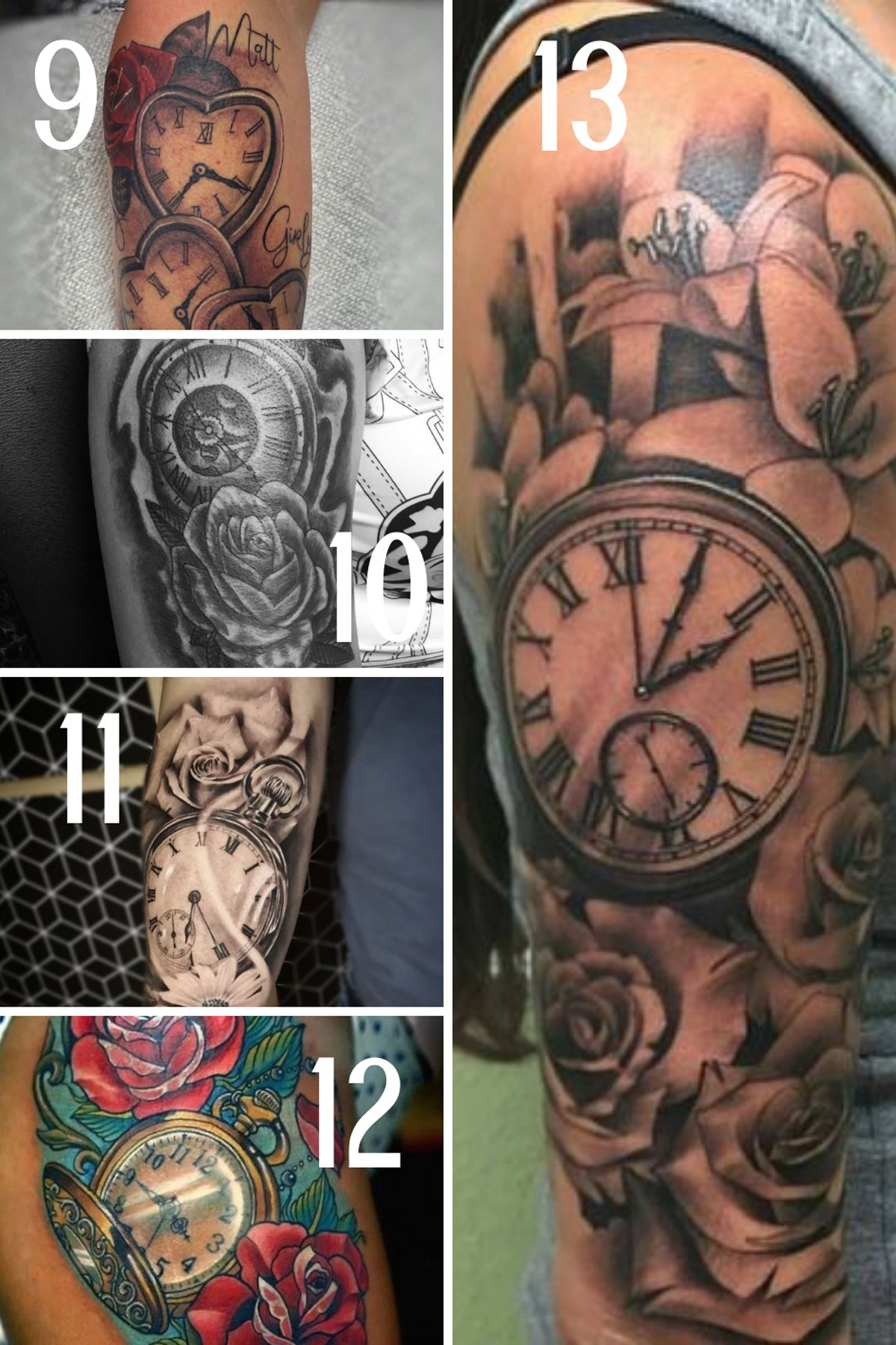 Shoulder Clock and Flower Tattoos